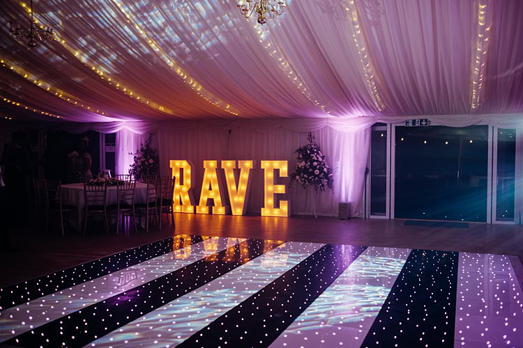 Letter Lights Fairy Dance Floor Stylish Country House Rave Wedding http://www.mariannechua.com/