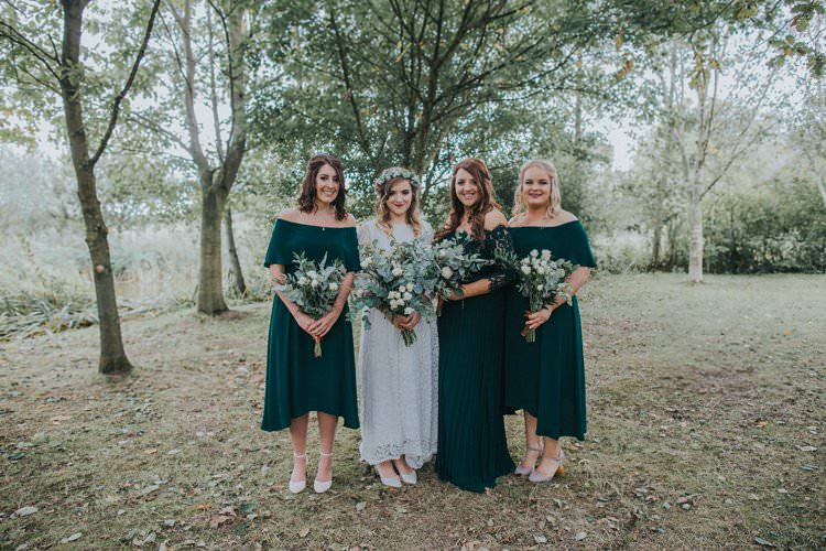 Bridesmaid Dresses Bardot Off Shoulder Whimsical Green Copper Rustic DIY Wedding http://www.brookrosephotography.co.uk/