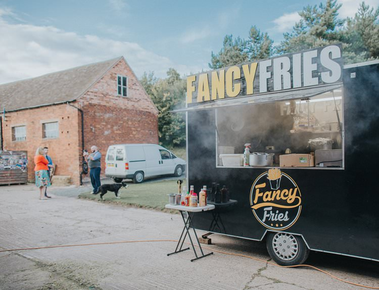 Fries Chips Food Truck Whimsical Green Copper Rustic DIY Wedding http://www.brookrosephotography.co.uk/