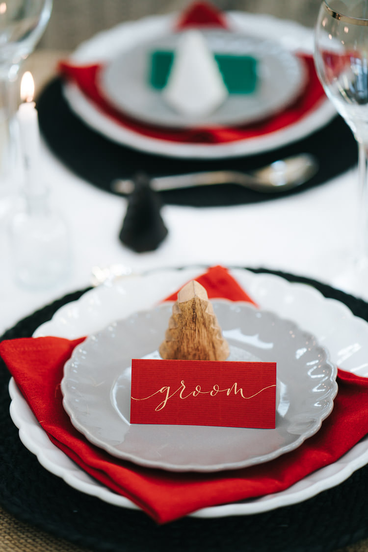 Gold Calligraphy Place Name Card Red Green Winter Wonderland Wedding Ideas http://www.angelawardbrown.com/