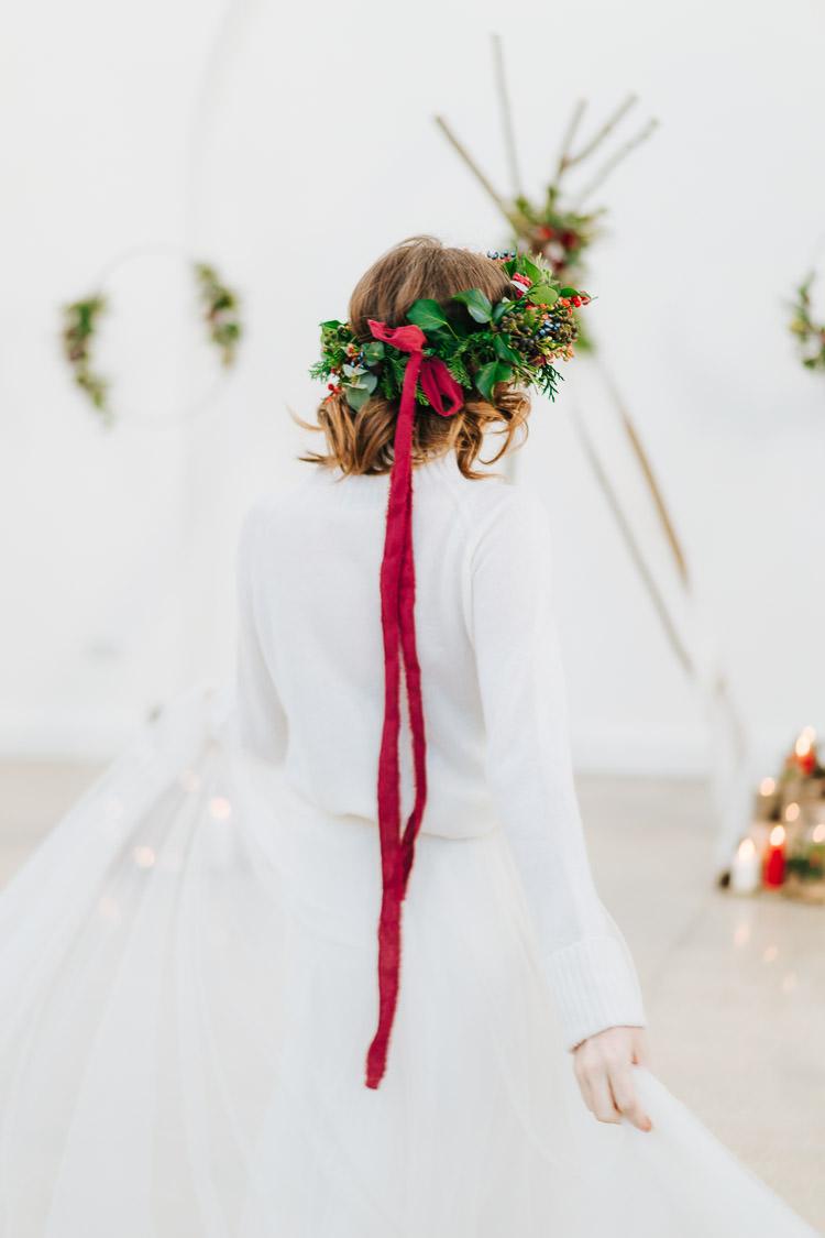 Flower Crown Ribbon Bride Bridal Headdress Red Green Winter Wonderland Wedding Ideas http://www.angelawardbrown.com/