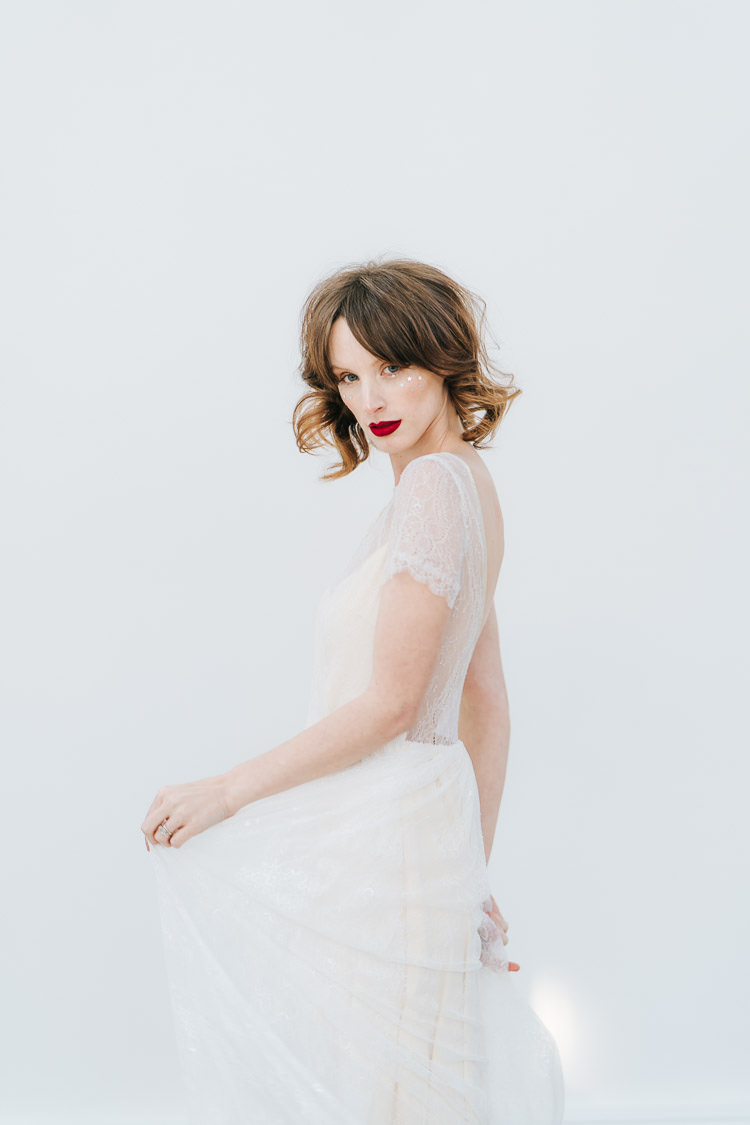 Lace Dress Bride Bridal Sleeve Red Green Winter Wonderland Wedding Ideas http://www.angelawardbrown.com/