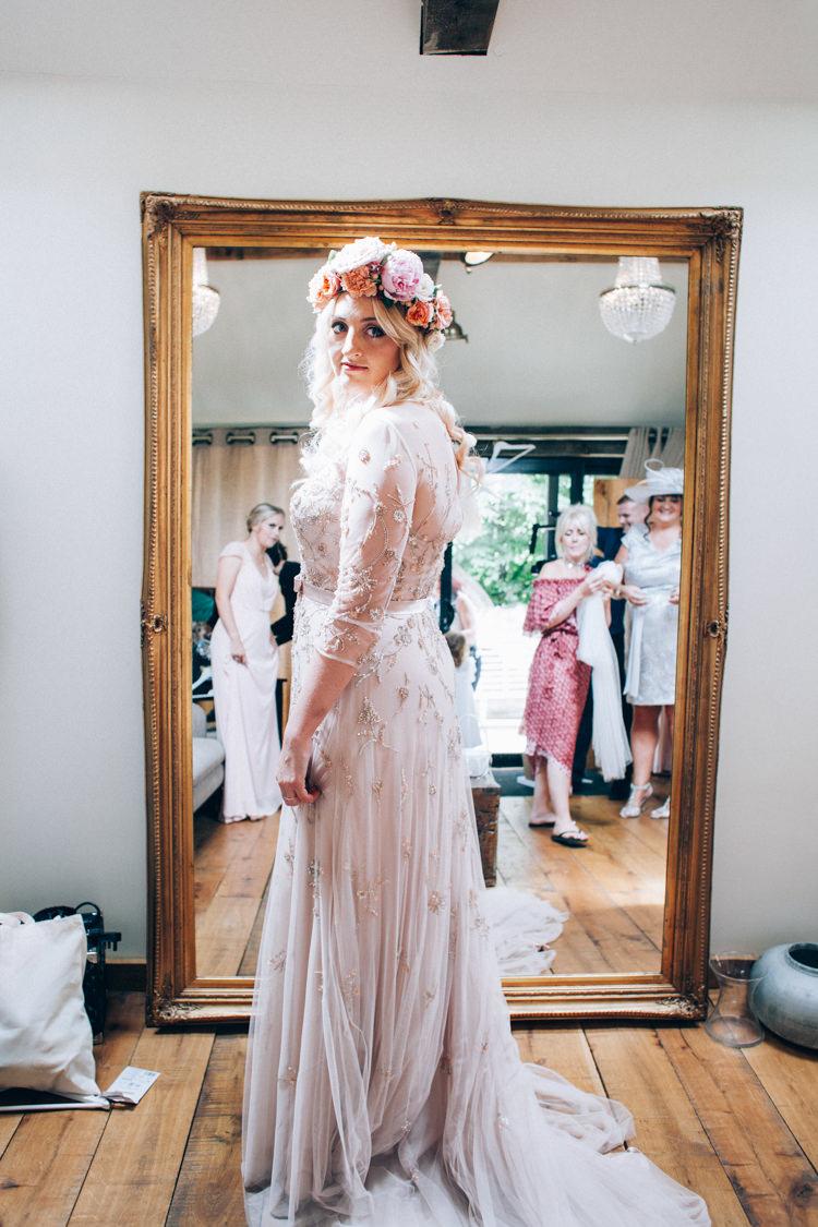Wendy Makin Sequin Blush Dress Gown Bride Bridal Flowery Bohemian Secret Garden Wedding https://caseyavenue.co.uk/