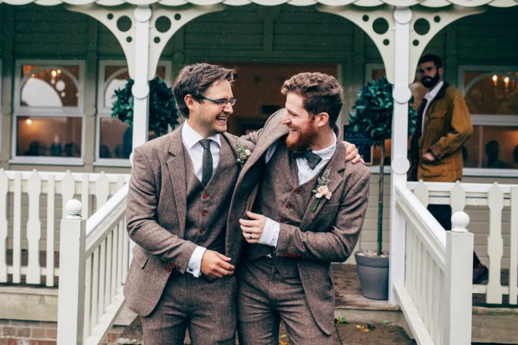 Three Piece Waistcoat Tweed Suit Bow Tie Groom Old Fashioned Fete Cricket Pavilion Wedding https://www.naomijanephotography.com/