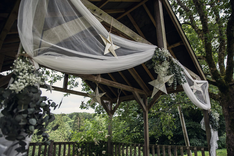 Stars Fabric Flowers Arch Arbour Ceremony Backdrop Heartfelt Celestial Handmade Wedding http://assassynation.co.uk/