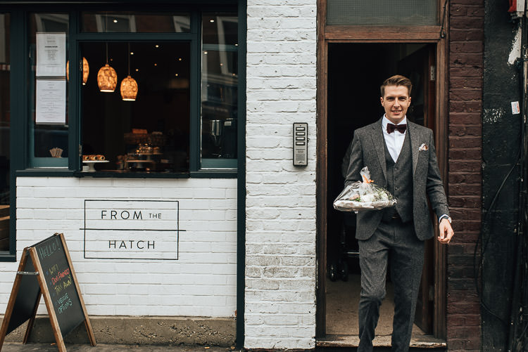 Groom Style Tweed Three Piece Suit Grey Waistcoat Bow Tie Pocket Square Chic Relaxed London Pub Wedding https://theshannons.photography/