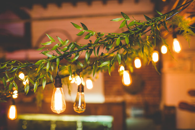 Festoon Lighting Olive Leaves Edison Bulb Colourful Fun Cosy Rainy Sea Wedding http://www.livvy-hukins.co.uk/
