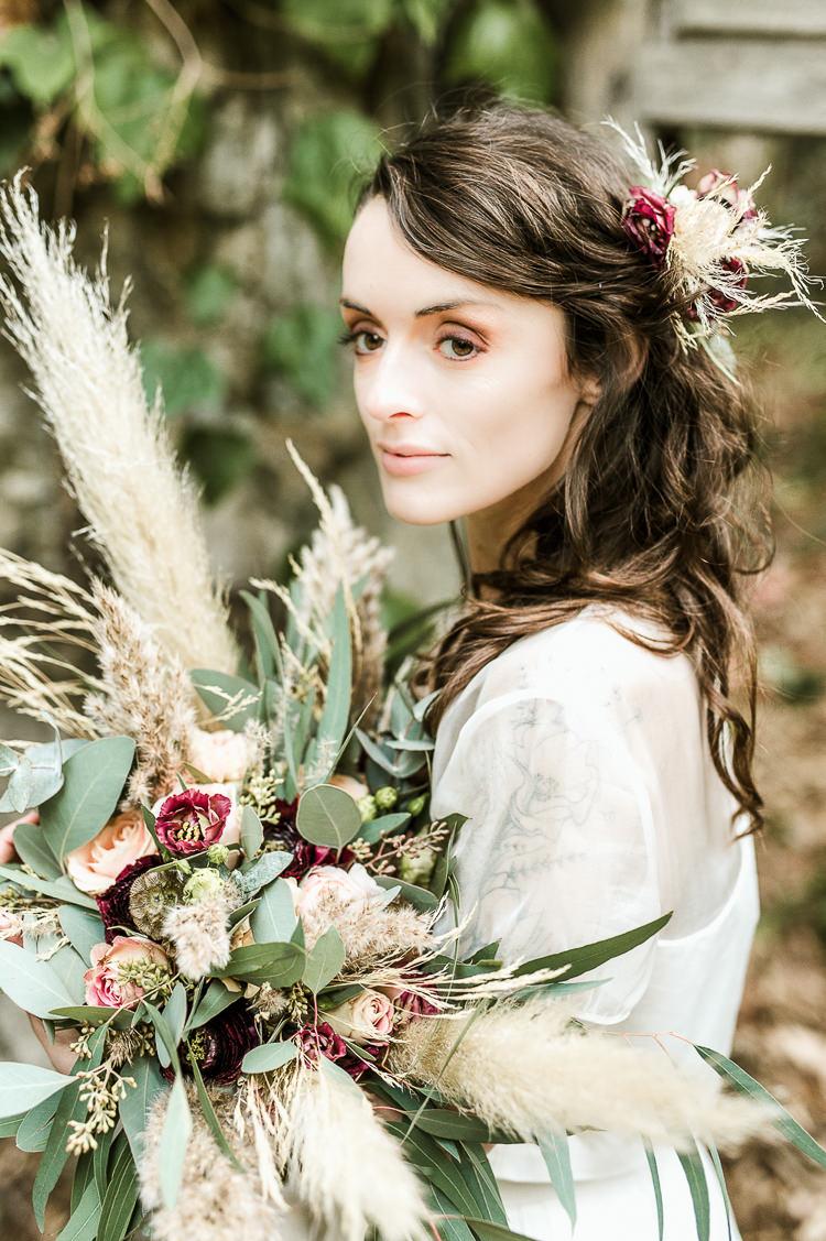 Flowers Bouquet Oxblood Peach Rose Pampas Grass Greenery Velvet Ribbon Bride Bridal Trendy Beautiful French Elopement Wedding Ideas http://oliviamarocco.com/