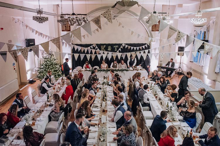 Bunting Twinkly Rustic Winter Wonderland Wedding https://www.kazooieloki.co.uk/