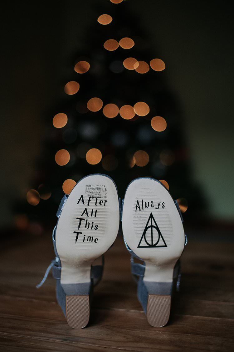 Harry Potter Quote After All This Time Always Shoes Sole Bride Bridal Twinkly Rustic Winter Wonderland Wedding https://www.kazooieloki.co.uk/