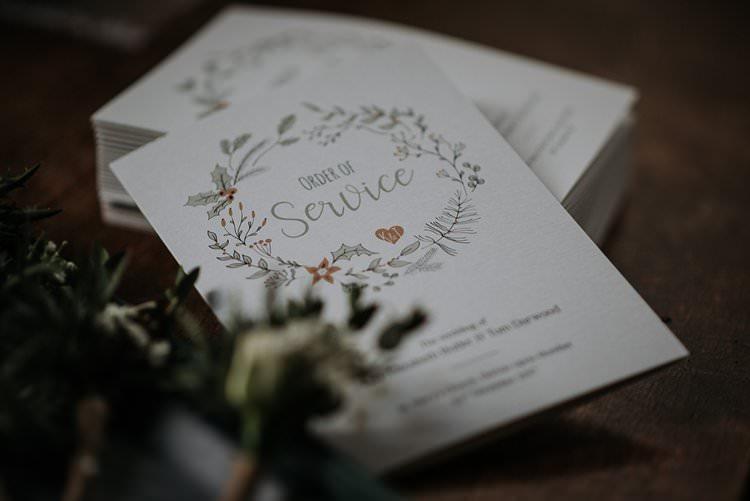 Order Service Stationery Floral Garland Twinkly Rustic Winter Wonderland Wedding https://www.kazooieloki.co.uk/
