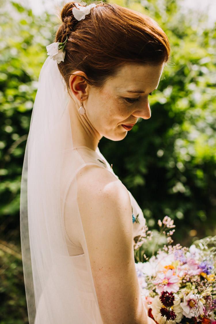 Hair Style Up Do Bride Bridal Veil Flowers Joyful Homespun Humanist Farm Camping Wedding https://aniaames.co.uk/