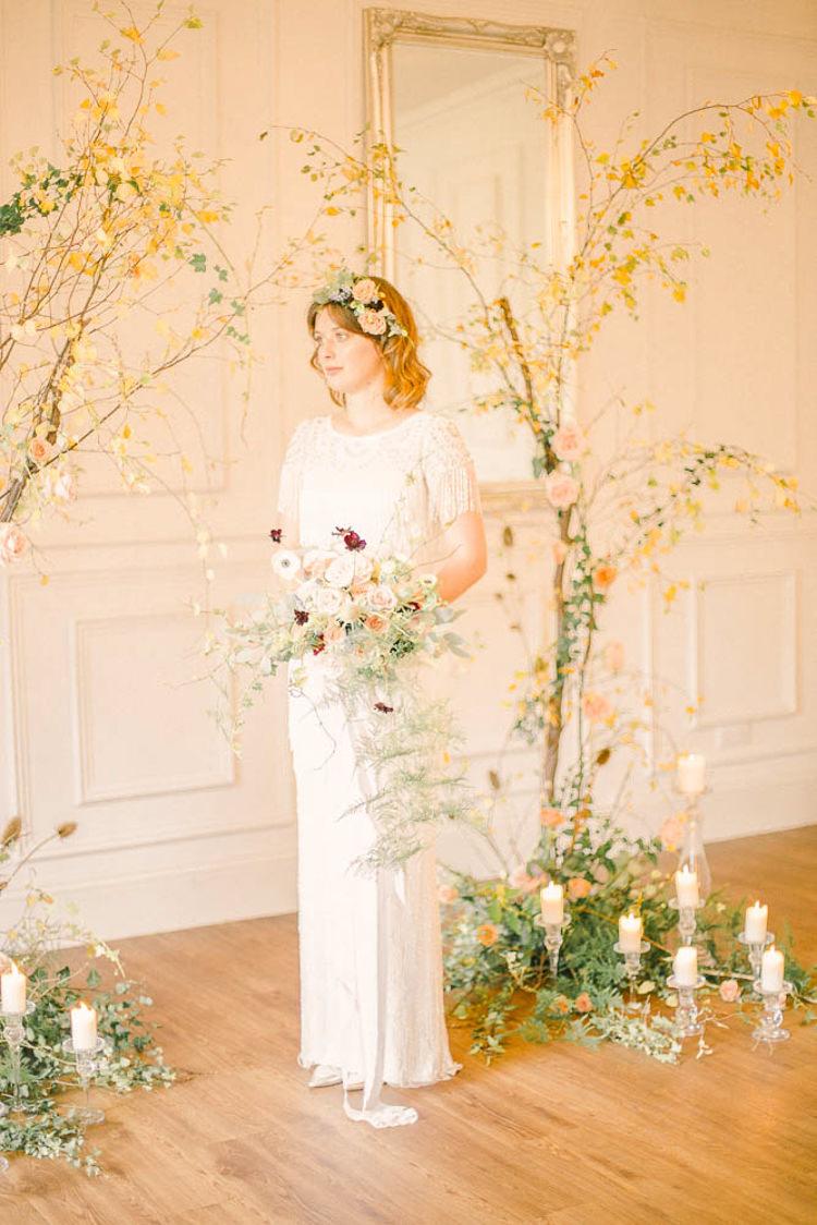 Backdrop Arch Flowers Branch Beautiful Fine Art Country House Wedding Ideas https://www.theblushingpeony.co.uk/