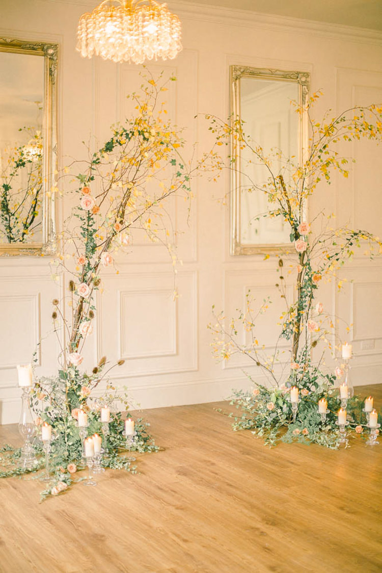 Flower Arch Floral Branch Candles Backdrop Decor Beautiful Fine Art Country House Wedding Ideas https://www.theblushingpeony.co.uk/