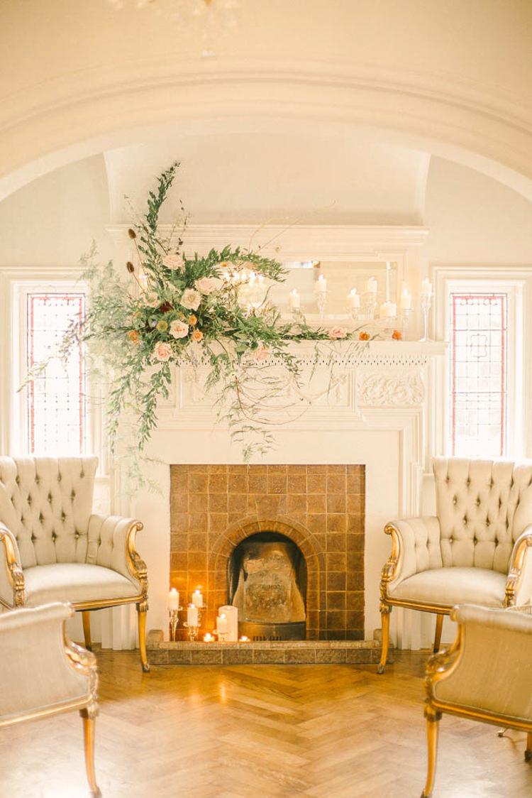 Fireplace Flowers Beautiful Fine Art Country House Wedding Ideas https://www.theblushingpeony.co.uk/