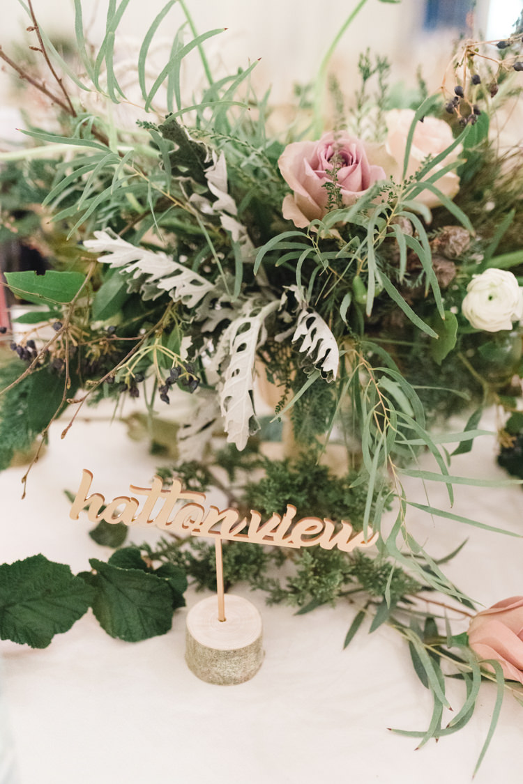 Table Name Foliage Pink Rose Laser Cut Log Wood Enchanted Magical Snowy Wedding https://www.thegibsonsphotography.co.uk/