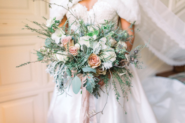 Bouquet Rose Peach Rose Eucalytpus Foliage Bride Bridal Sweetheart Neckline Hair Piece Lace A Line Enchanted Magical Snowy Wedding https://www.thegibsonsphotography.co.uk/