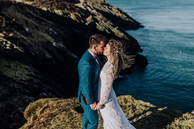 Ocean Clifftop Elopement Wedding Ideas North Wales https://www.claracooperphotography.com/