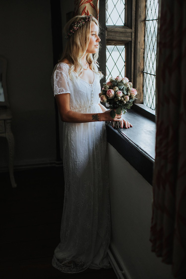 1970s Vintage Dress Bride Bridal Lace Sleeves Buttons Rustic Homespun Country Chapel Barn Wedding Sussex http://www.olegssamsonovsphotography.com/