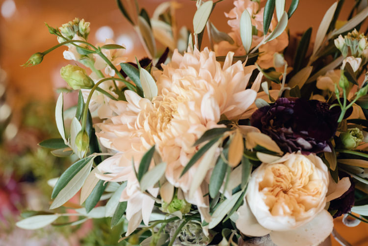 Ruscus Greenery Foliage Berries Fruit Dahlia David Austin Roses Flowers Pretty Blush Floral Tipi Wedding Ideas https://www.sarahvivienne.co.uk/
