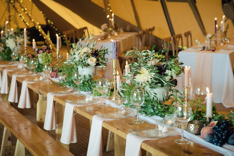 Ruscus Greenery Foliage Berries Fruit Dahlia David Austin Roses Flowers Tables Candles Blush Floral Tipi Wedding Ideas https://www.sarahvivienne.co.uk/