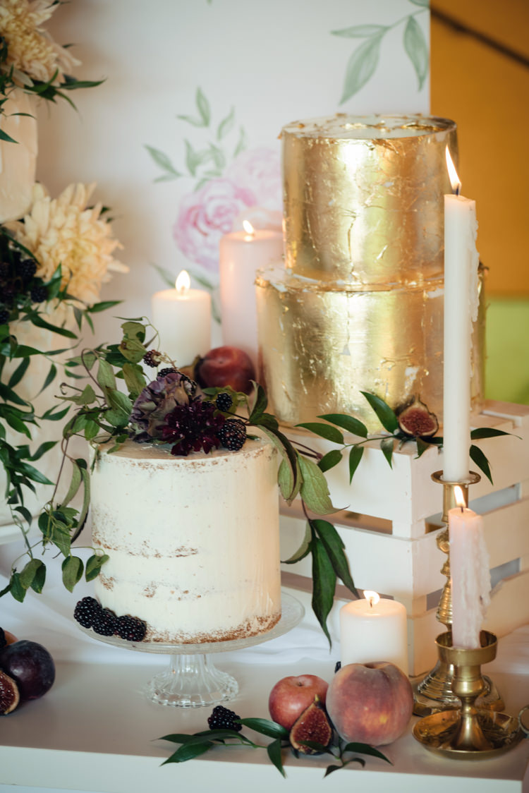 Gold Leaf Cake Buttercream Pretty Blush Floral Tipi Wedding Ideas https://www.sarahvivienne.co.uk/