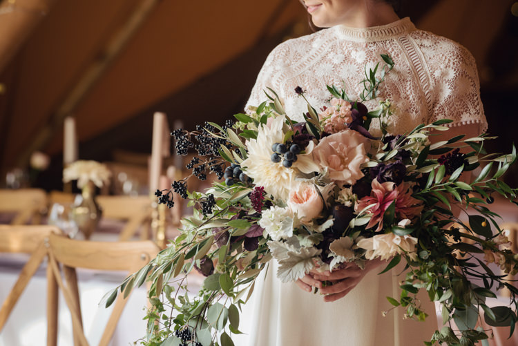 Ruscus Greenery Foliage Berries Fruit Dahlia David Austin Roses Flowers Bouquet Bride Bridal Pretty Blush Floral Tipi Wedding Ideas https://www.sarahvivienne.co.uk/