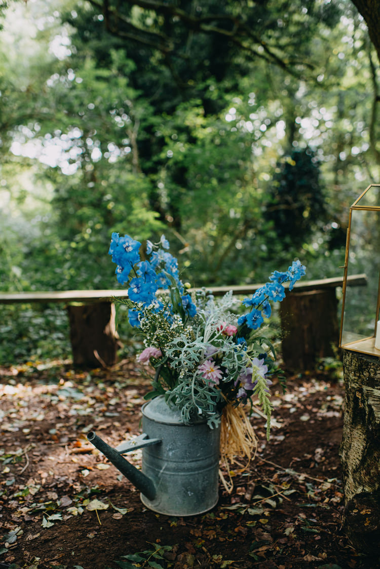 Galanised Metal Steel Flower Floral Watering Can Display Magical Woodland Family Wedding http://photographybyclare.co.uk/