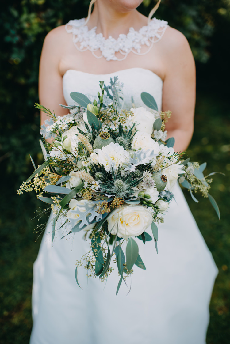 Bride Bridal Bouquet Dress Gown White Flowers Floral Greenery Thistle Magical Woodland Family Wedding http://photographybyclare.co.uk/
