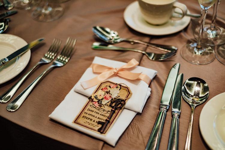 Place Setting Key Luggage Tag Vintage Ribbon Boho DIY Secret Garden Wedding https://bibandtuckerphotography.co.uk/