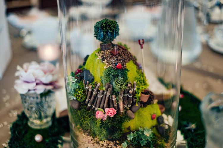 Micro Garden Miniature Table Centre Details Rose Boho DIY Secret Garden Wedding https://bibandtuckerphotography.co.uk/