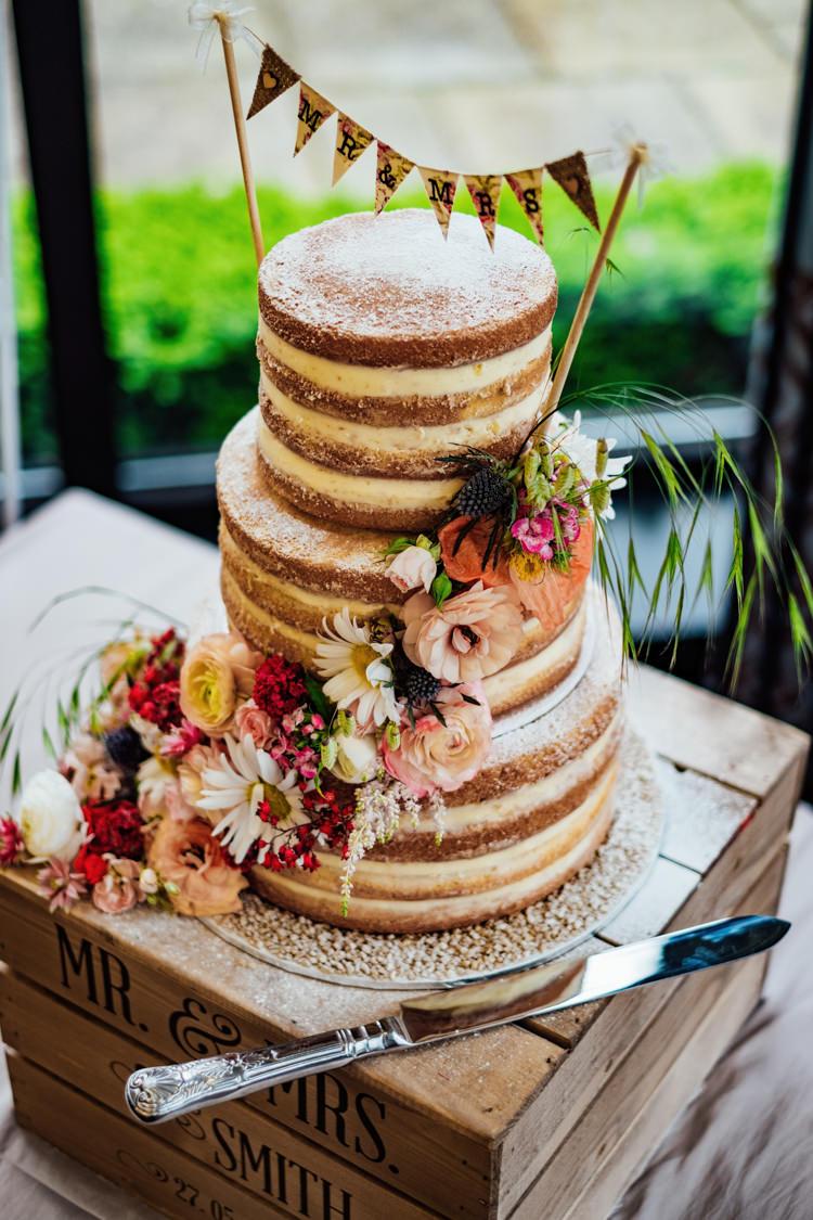 Wine Crate Wooden Personalised Mr & Mrs Naked Buttercream Floral Bunting Cake Topper Boho DIY Secret Garden Wedding https://bibandtuckerphotography.co.uk/