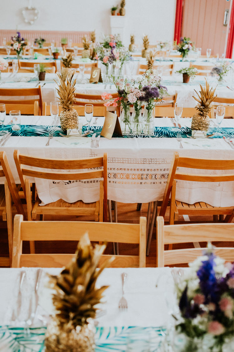Table Tablescape Pineapples Flowers Tropical DIY Moon Photo Booth Wedding https://photo.shuttergoclick.com/
