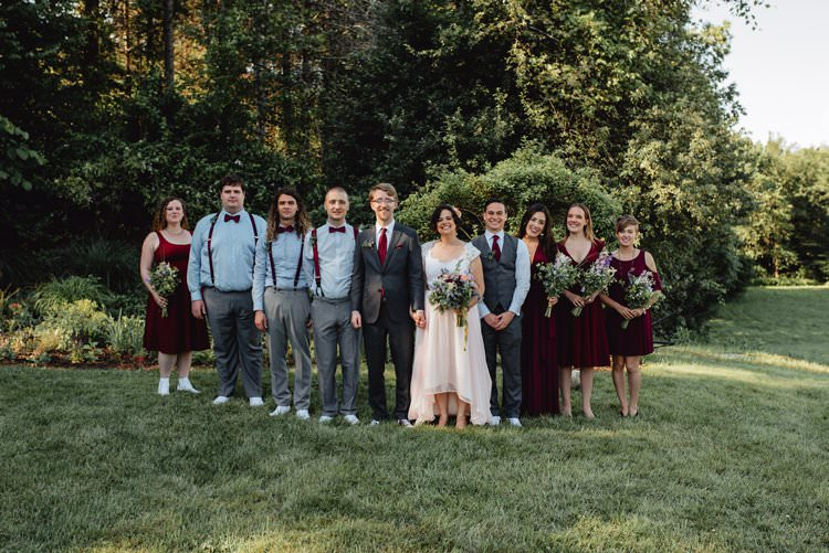 Outdoor Field Forest Wild Nature Marquee Tipi Bride Groom Bridesmaids Groomsmen Group Burgundy Dresses Braces | Breathtaking Secluded Back Garden Open Sided Tent Wedding Vermont https://kickasscouples.com/
