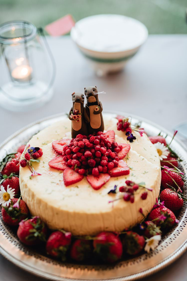 Outdoor Field Forest Wild Nature Marquee Tipi Strawberry Fruit Cake Otter Topper | Breathtaking Secluded Back Garden Open Sided Tent Wedding Vermont https://kickasscouples.com/