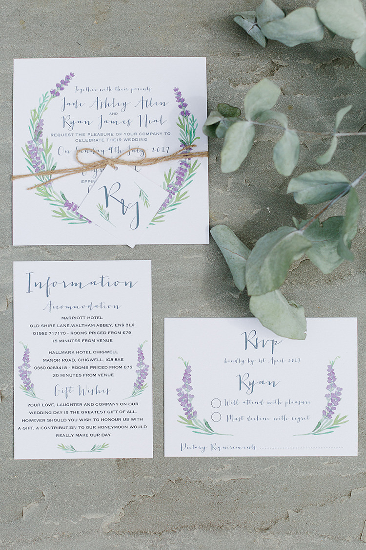 Floral Botanical Stationery Invitations Invites Lavender Understated Elegance Greenery Natural Wedding Gaynes Park Essex http://ilariapetrucci.co.uk/