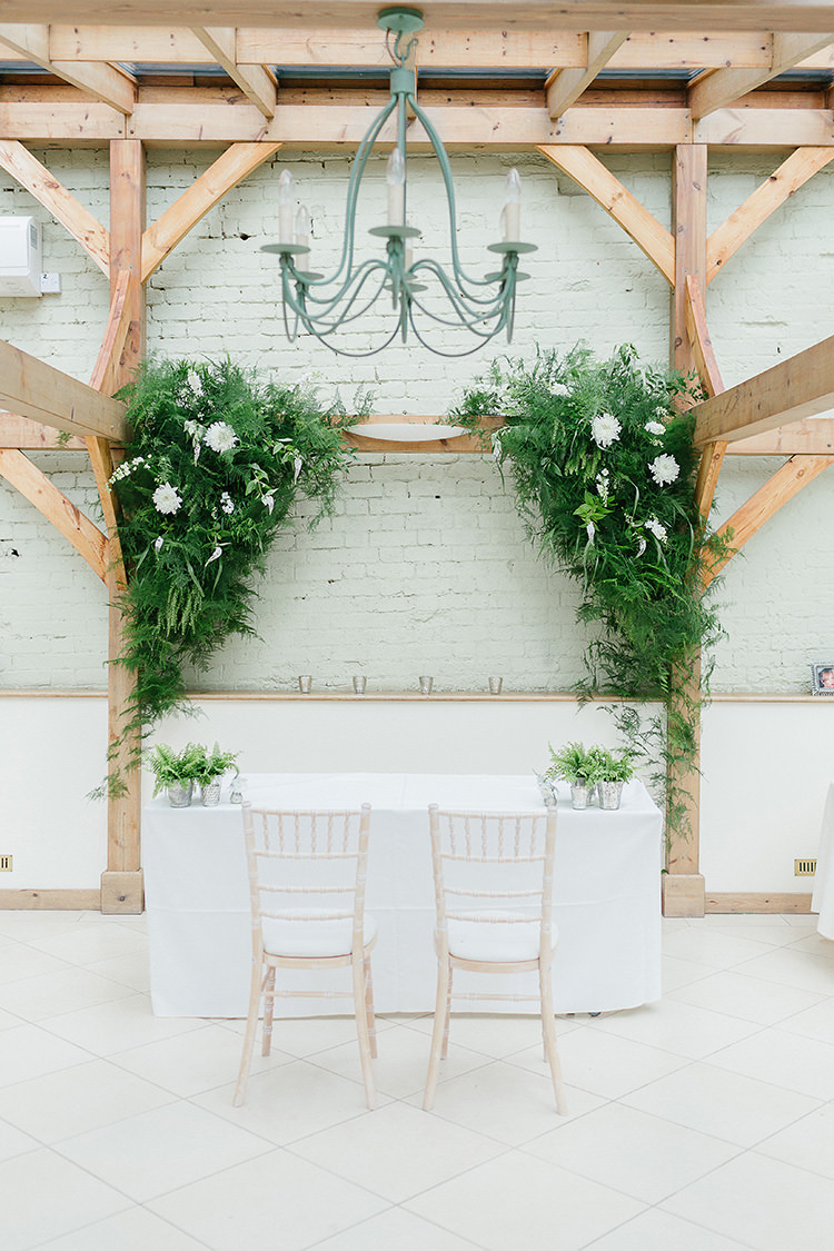 Ceremony Backdrop Arch Flowers White Foliage Understated Elegance Greenery Natural Wedding Gaynes Park Essex http://ilariapetrucci.co.uk/
