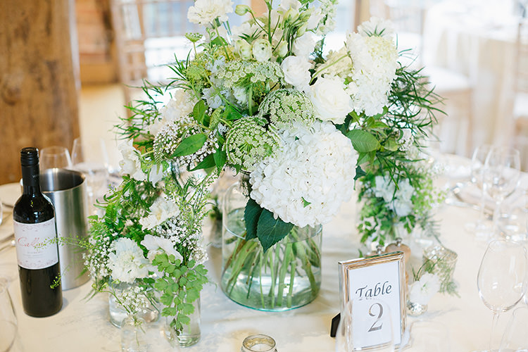 Table Flowers White Foliage Vase Centrepiece Hydrangeas Understated Elegance Greenery Natural Wedding Gaynes Park Essex http://ilariapetrucci.co.uk/