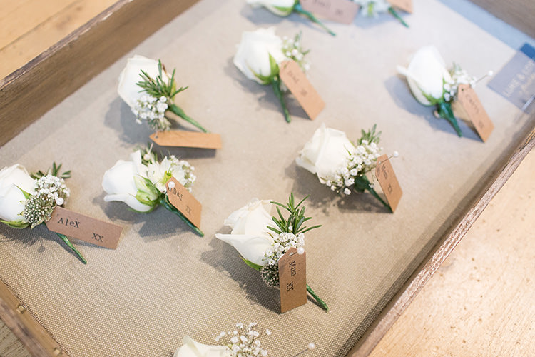 White Rose Buttonholes Understated Elegance Greenery Natural Wedding Gaynes Park Essex http://ilariapetrucci.co.uk/