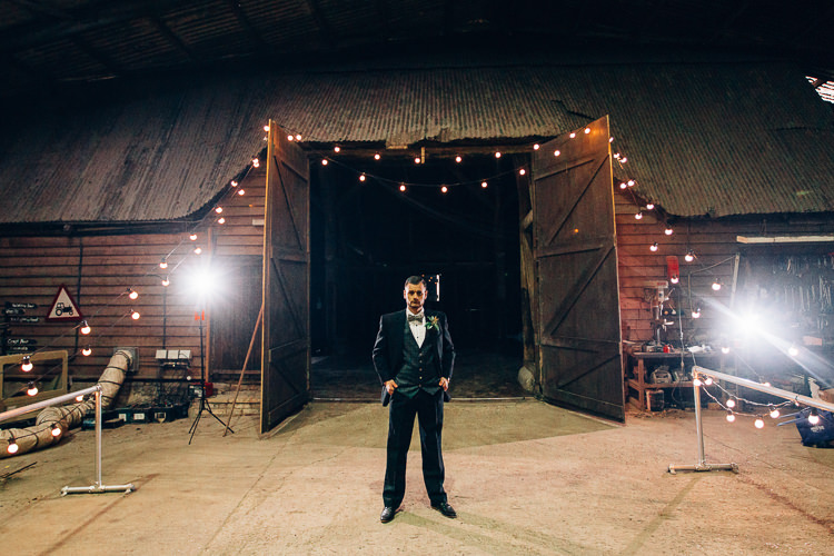 Groom Suit Bow Tie Edgy Raw Industrial Barn Wedding Ideas Greenery Festoon Lights http://www.two-d.co.uk/