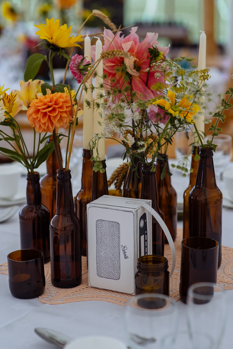 DIY Marquee Tipi Papercraft Beer Bottle Wildflower Decor Alternative Hippy Forest Farm Field Garden Wedding | Homegrown Community Eclectic Rural Yorkshire Wedding https://toastofleeds.co.uk/