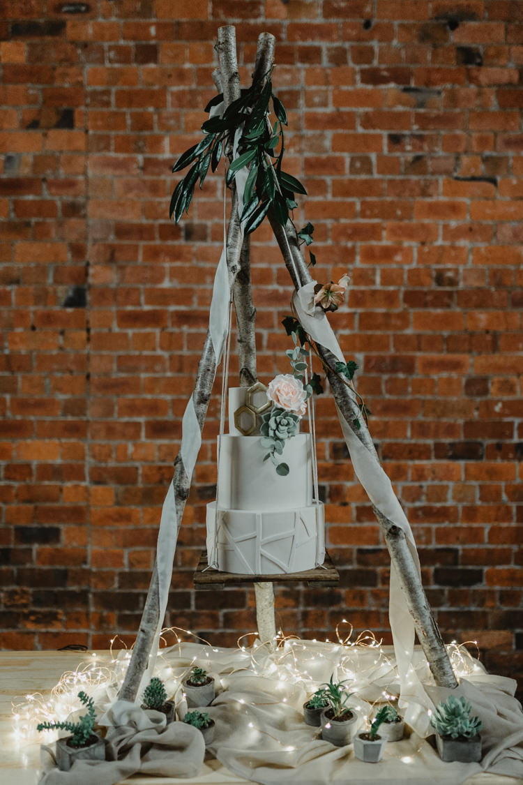 Cake Table Suspended Hanging Tipi Naked Industrial Violet Greenery Succulents Edison Lighting Wedding Ideas https://www.steviejayphotography.co.uk/