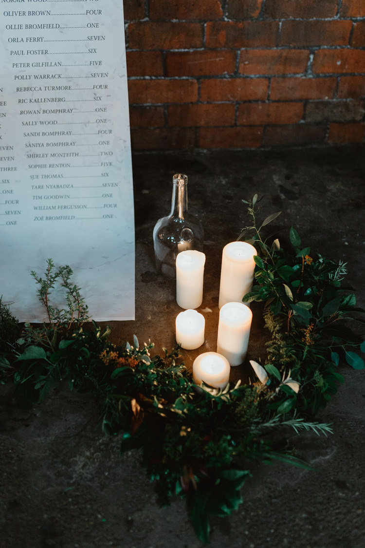 Fabric Candles Decor Industrial Violet Greenery Succulents Edison Lighting Wedding Ideas https://www.steviejayphotography.co.uk/