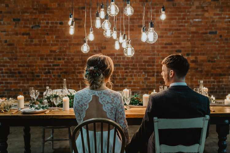 Tablescape Lighting Decor Table Greenery Industrial Violet Greenery Succulents Edison Lighting Wedding Ideas https://www.steviejayphotography.co.uk/