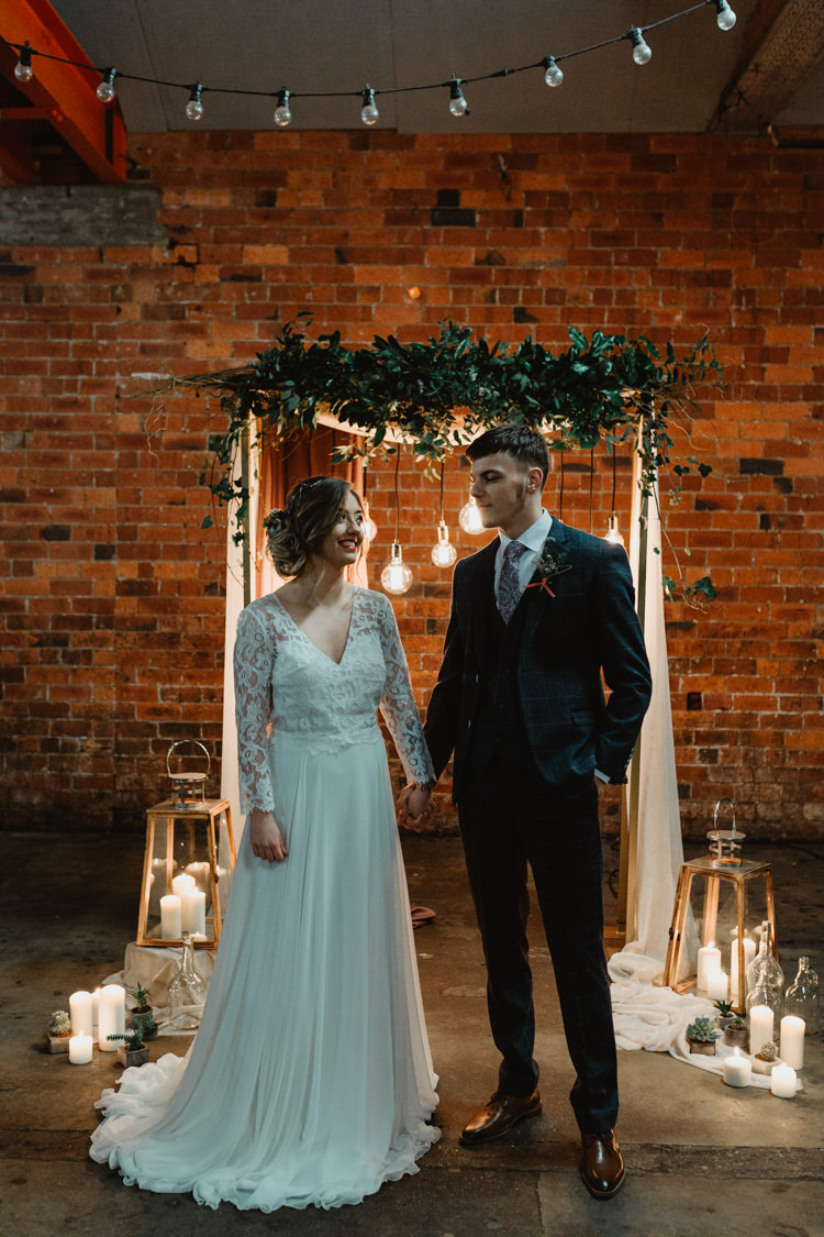 Backdrop Arch Arbour Ceremony Festoon Fabric Greenery Industrial Violet Greenery Succulents Edison Lighting Wedding Ideas https://www.steviejayphotography.co.uk/