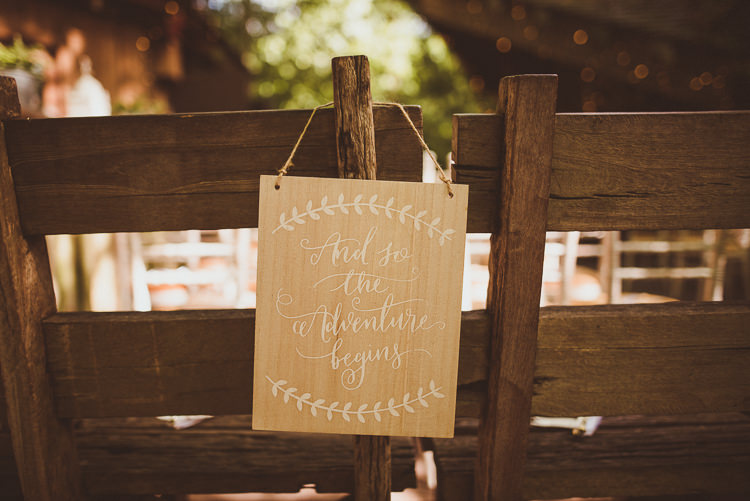 Wooden Calligraphy Sign Adventure Rustic Relaxed Woodsy Alnwick Treehouse Northumberland Wedding http://www.mattpenberthy.com/