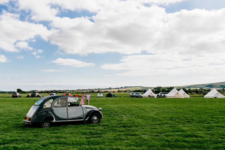 Beetle Car Bright Fun Festival Boho Wedding The Party Field East Sussex http://epiclovestory.co.uk/