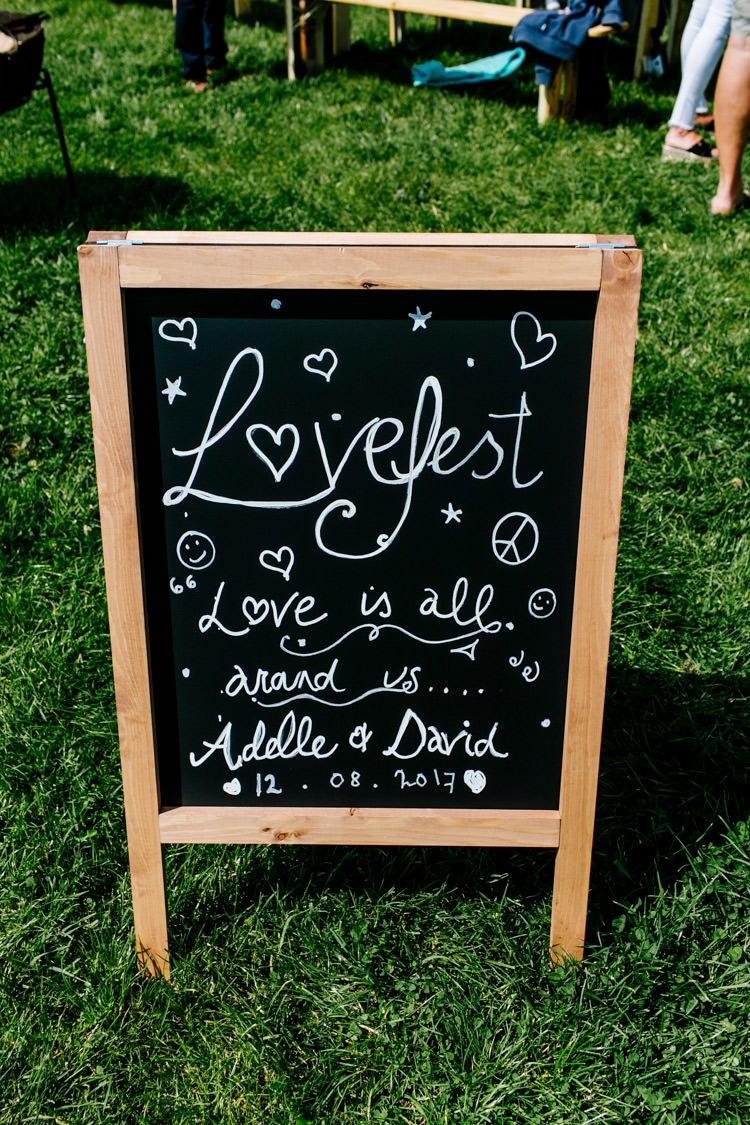 Chalk Black Board Sign Bright Fun Festival Boho Wedding The Party Field East Sussex http://epiclovestory.co.uk/