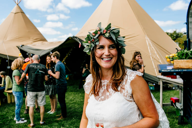 Flower Crown Bride Bridal Bright Fun Festival Boho Wedding The Party Field East Sussex http://epiclovestory.co.uk/