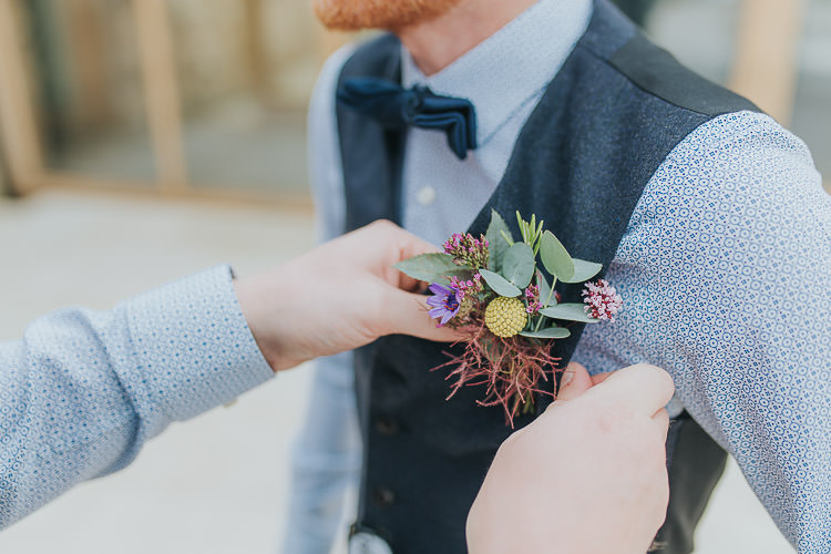 Buttonhole Groom Groomsmen Craspedia Eucalyptus Non-Traditional Country Party Barn Wedding Yorkshire http://www.lauracalderwood.co.uk/